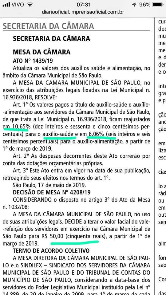 Prefeitura de SP reajusta salários em 3.89% e aux-alimentação em 6.06%